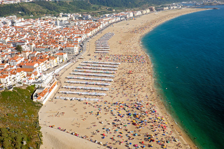 View of Nazare in Portugal with its beautiful beach Stock Photo