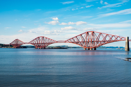 The old railway bridge over the Firth of Forth in Scotland photo