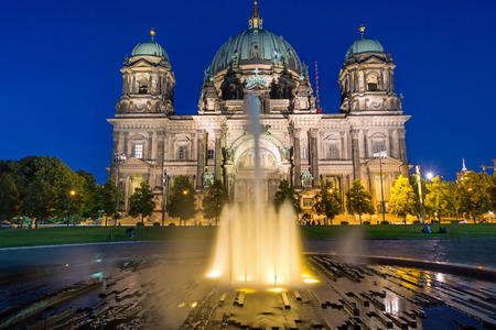 waterspout: The Berlin Dom and a waterspout fountain at dawn