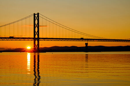 Sunset at the Firth of Forth in Scotland photo