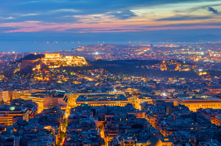 View over Athens with the Acropolis at night