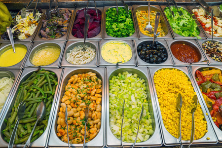 Nice salad buffet in a restaurant Stock Photo