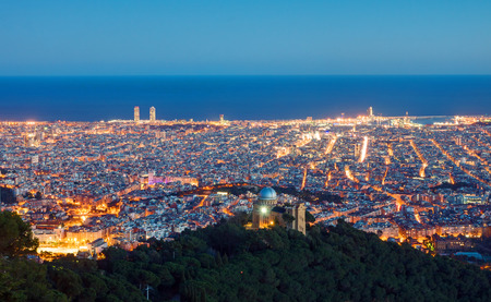 View over Barcelona from Mount Tibidabo at dawn Reklamní fotografie