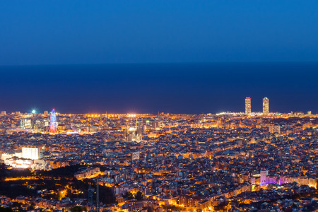 night skyline: Barcelona seen from Mount Tibidabo Editorial