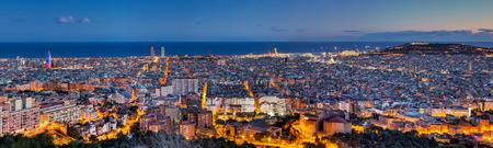 barcelona spain: Panorama of Barcelona at dawn
