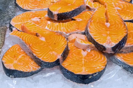 salmon fishery: Fresh filet of salmon for sale at a market