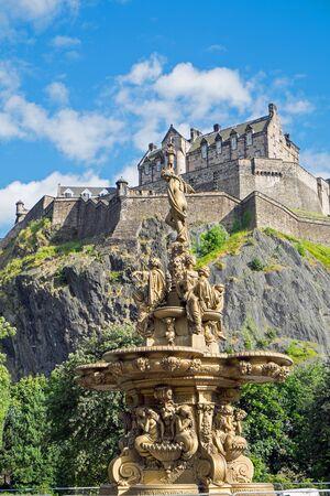princes street: The Edinburgh castle seen from Princes Street Gardens Editorial