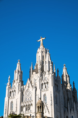 cor: The Sagrat Cor church at the top of Mount Tibidabo in Barcelona