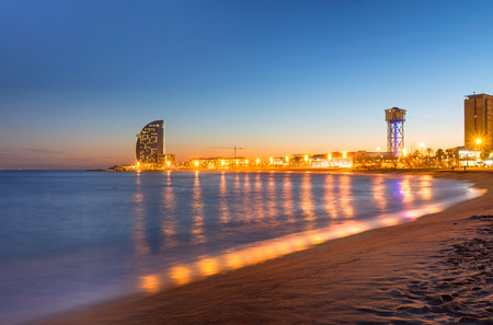 Beach in Barcelona during sunset