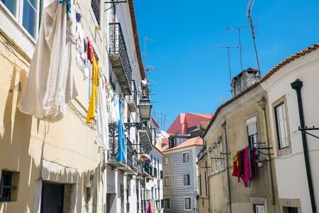 Old houses in the Alfama district in Lisbon, Portugal