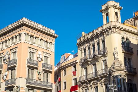 ramblas: Buildings alongside La Rambla in Barcelona
