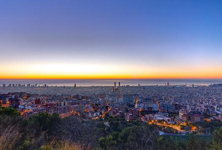 Barcelona panorama before sunrise
