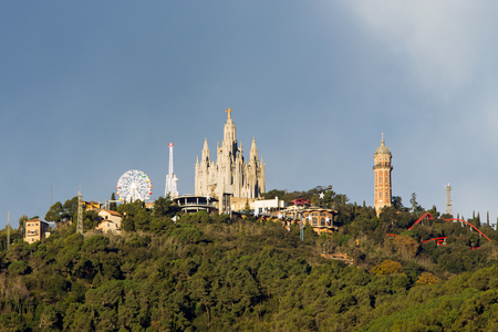 cor: Mount Tibidabo with the church Sagrat Cor in Barcelona Stock Photo