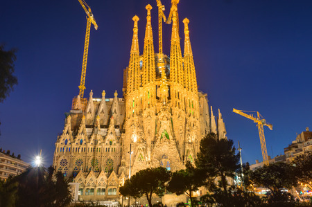 barcelona cathedral: The illuminated Sagrada Familia in Barcelona, ??Spain