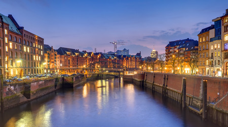 houses in the historic Speicherstadt in Hamburg at night Stock Photo