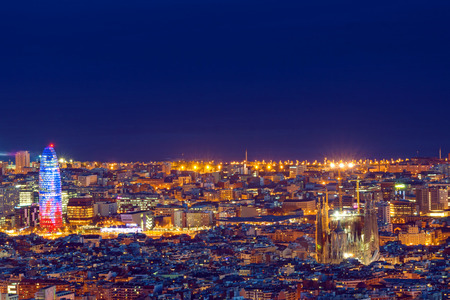 aerial: Barcelona at night