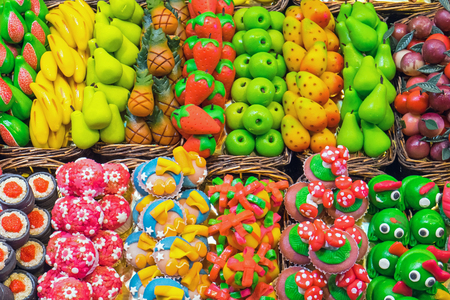 jellybean: Sweets at the Boqueria market in Barcelona, ??Spain Stock Photo