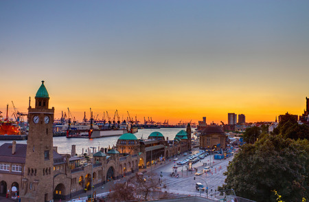 The Hamburg harbor at sunset Stock Photo