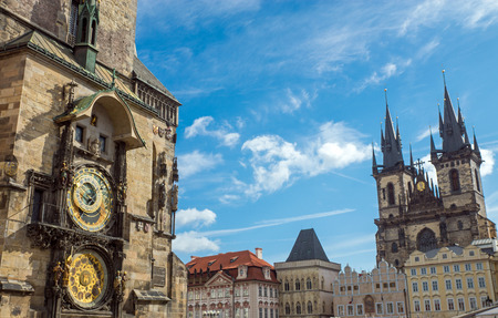 The famous Astronomical clock and the Church of Our Lady before Tyn in Prague, Czech Republic