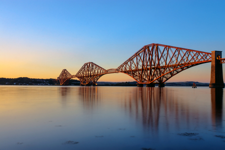 forth: The Forth Rail Bridge in Scotland at sunset