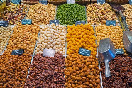 la boqueria: A selection of nuts at the famous La Boqueria market in Barcelona