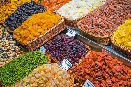 boqueria: Variety of dried fruits at the Boqueria market in Barcelona Stock Photo