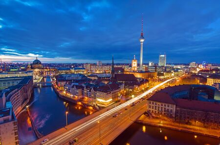 The center of Berlin with the televison tower at night