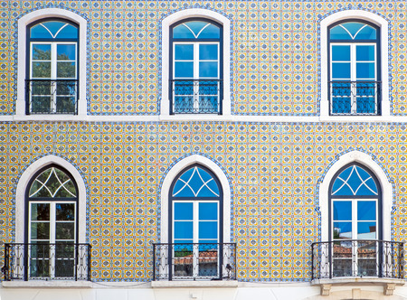 typical: Typical tiled facade seen in Lisbon Portugal Stock Photo