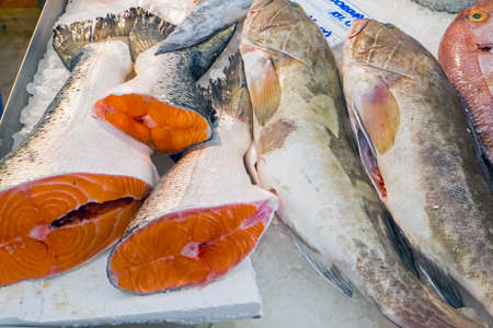 fishery products: Salmon for sale at a market