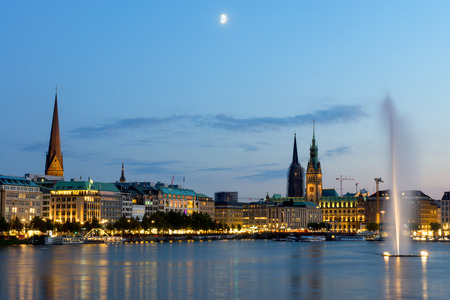 Hamburg39s landmarks and the Inner Alster lake at dawn