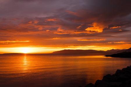 Beautiful midsummer sunset near Reykjavik in Iceland