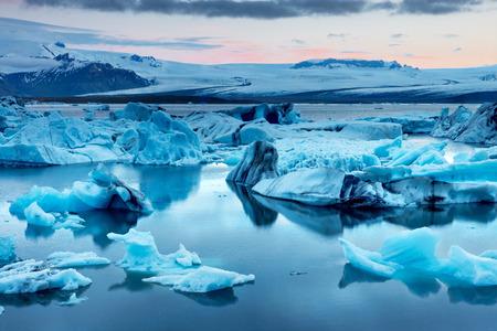 jokulsarlon: The Jokulsarlon glacier lagoon in Iceland during a bright summer night