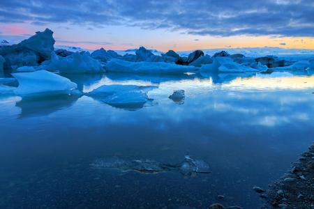 winter sky: Glacier Lagoon in Iceland at midnight