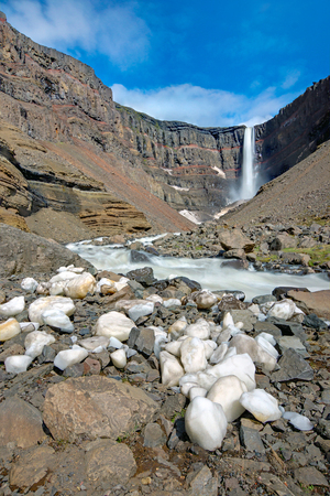 sputter: The Hengifoss waterfall with some iceblocks in Iceland