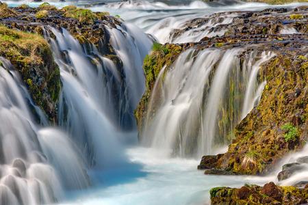 アイスランドの Bruarfoss の滝の詳細 写真素材