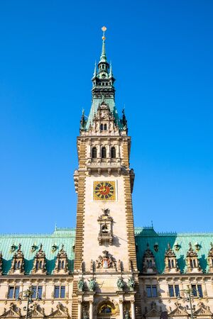 dome type: The beautiful town hall of Hamburg in northern Germany