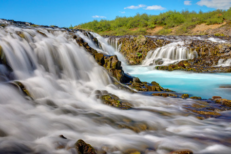 turquoise water: The amazing Bruarfoss waterfall with its turquoise water in Iceland Stock Photo