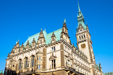 dome type: The beautiful Town Hall in Hamburg in Germany