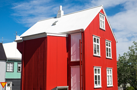 Reykjavik: Red house with white roof in Reykjavik, Icleand