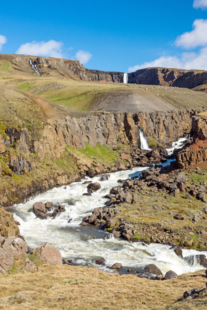 sputter: The Hengifoss waterfall in the east of Iceland in the back