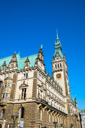 dome type: The imposing town hall in Hamburg in Germany