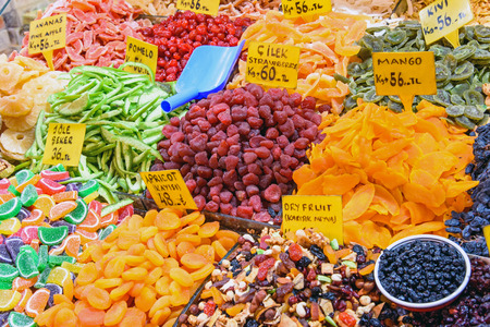 istanbul: Dry fruits at the Spice market in Istanbul, Turkey Stock Photo