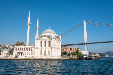 colum: The first Bosphorus bridge and the Ortakoy Mosque in Istanbul, Turkey Stock Photo