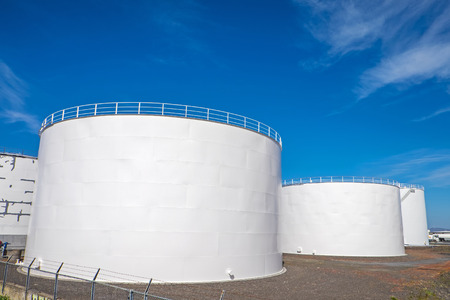 fuel tank: White gas storage tanks in the harbor of Reykjavik, Iceland