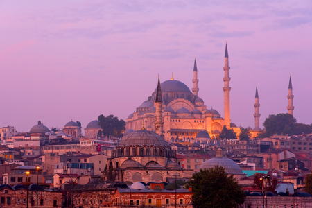 The Suleymaniye Mosque in Istanbul at dusk Stock Photo