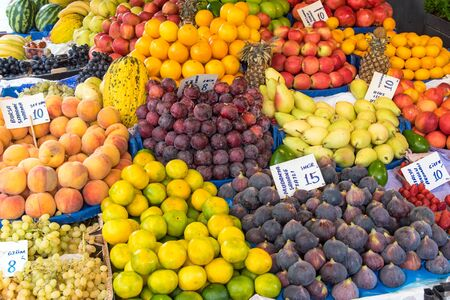 edibles: Big variety of fruits for sale at a market