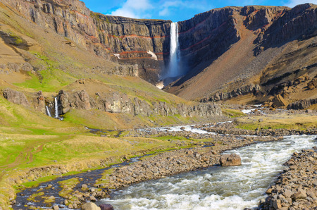 sputter: The Hengifoss waterfall in Iceland in the distance