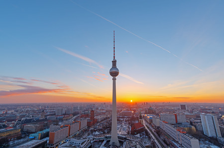 Beautiful sunset over downtown Berlin with the famous Television Tower