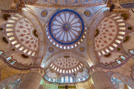 dome type: The interior of the Sultan Ahmed Mosque in Istanbul, Turkey Editorial