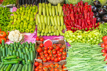 kadikoy: Green and red vegetables for sale at a market in Istanbul